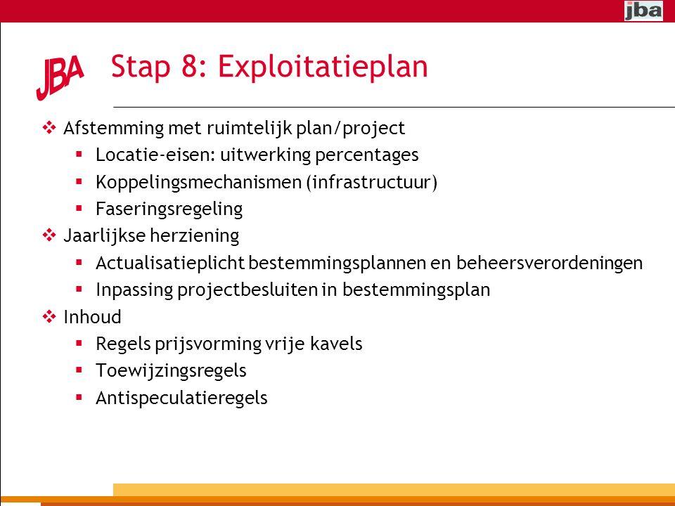 Stap 8: Exploitatieplan
