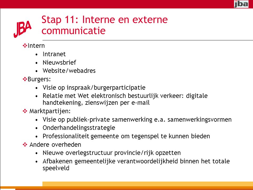 Stap 11: Interne en externe communicatie