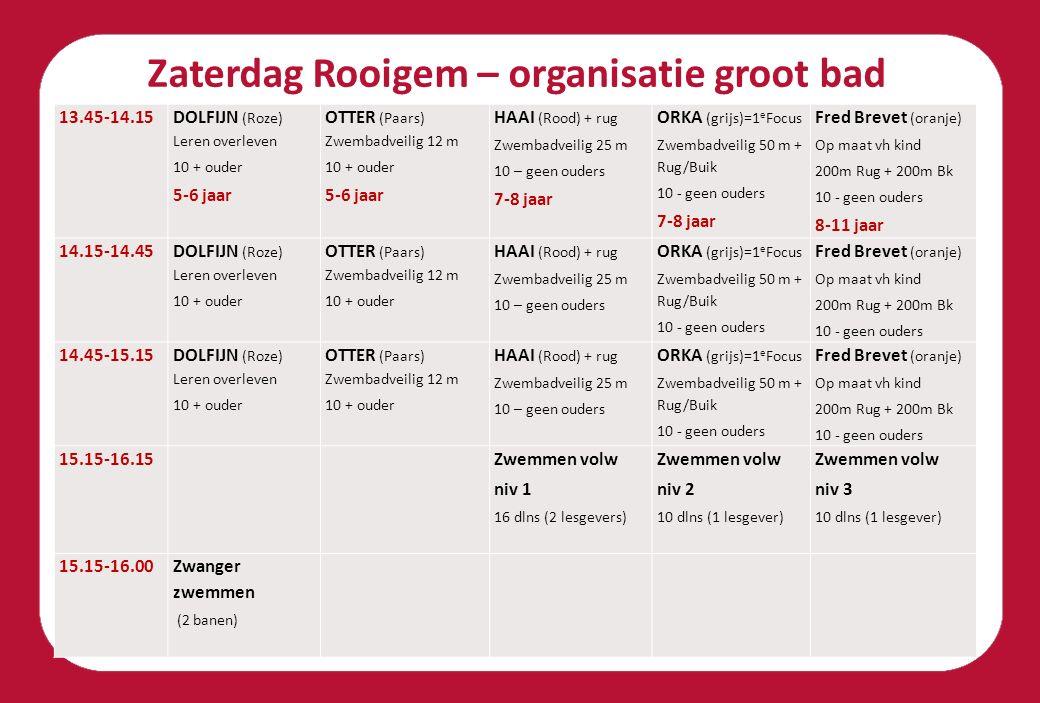 Zaterdag Rooigem – organisatie groot bad