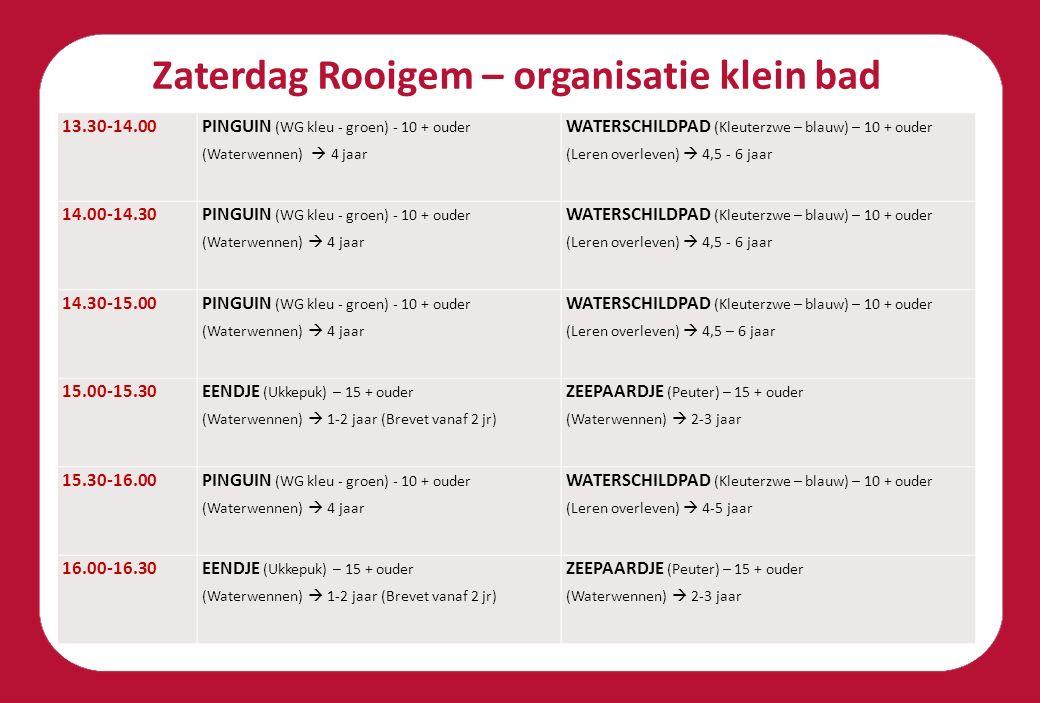 Zaterdag Rooigem – organisatie klein bad