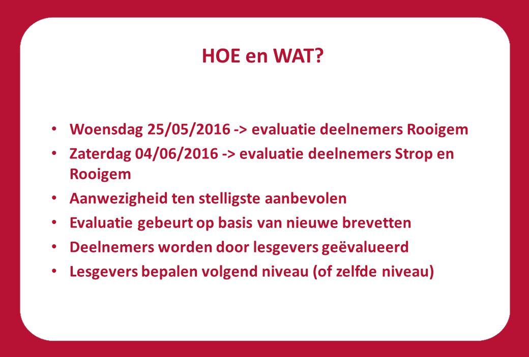 HOE en WAT Woensdag 25/05/2016 -> evaluatie deelnemers Rooigem