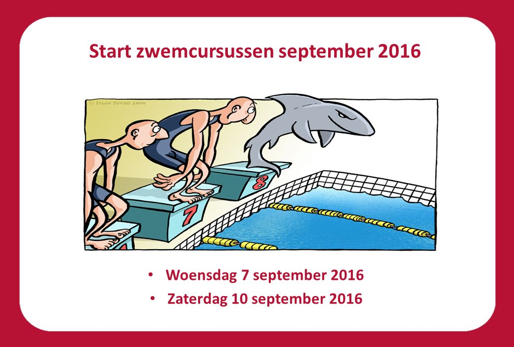 Start zwemcursussen september 2016