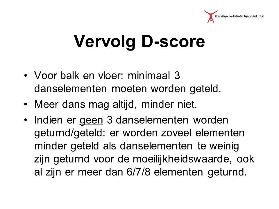 Vervolg D-score Voor balk en vloer: minimaal 3 danselementen moeten worden geteld. Meer dans mag altijd, minder niet.