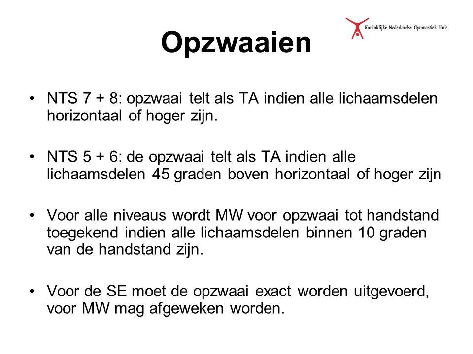 Opzwaaien NTS 7 + 8: opzwaai telt als TA indien alle lichaamsdelen horizontaal of hoger zijn.