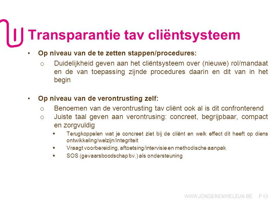 Transparantie tav cliëntsysteem
