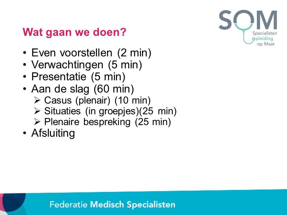Even voorstellen (2 min) Verwachtingen (5 min) Presentatie (5 min)