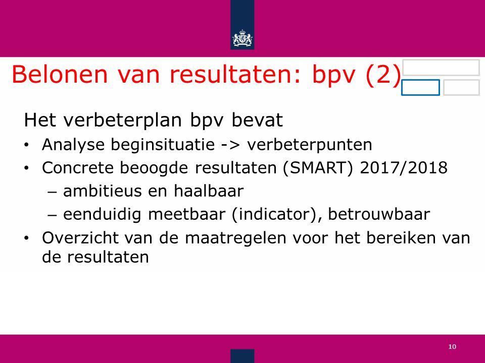 Belonen van resultaten: bpv (2) .