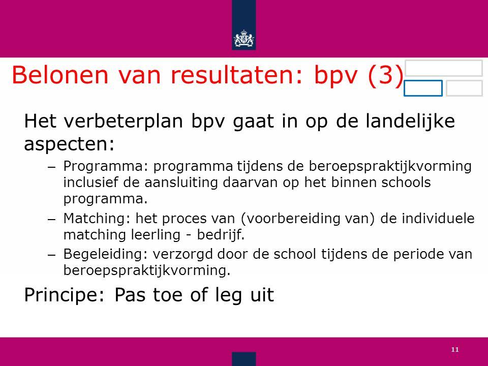 Belonen van resultaten: bpv (3) .