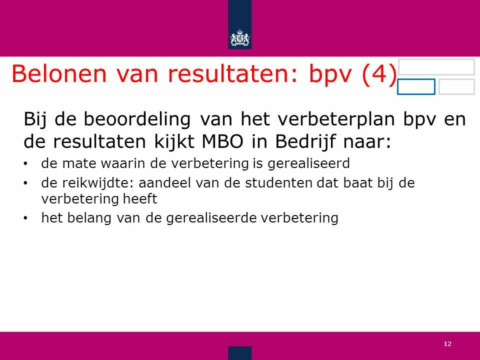Belonen van resultaten: bpv (4) .