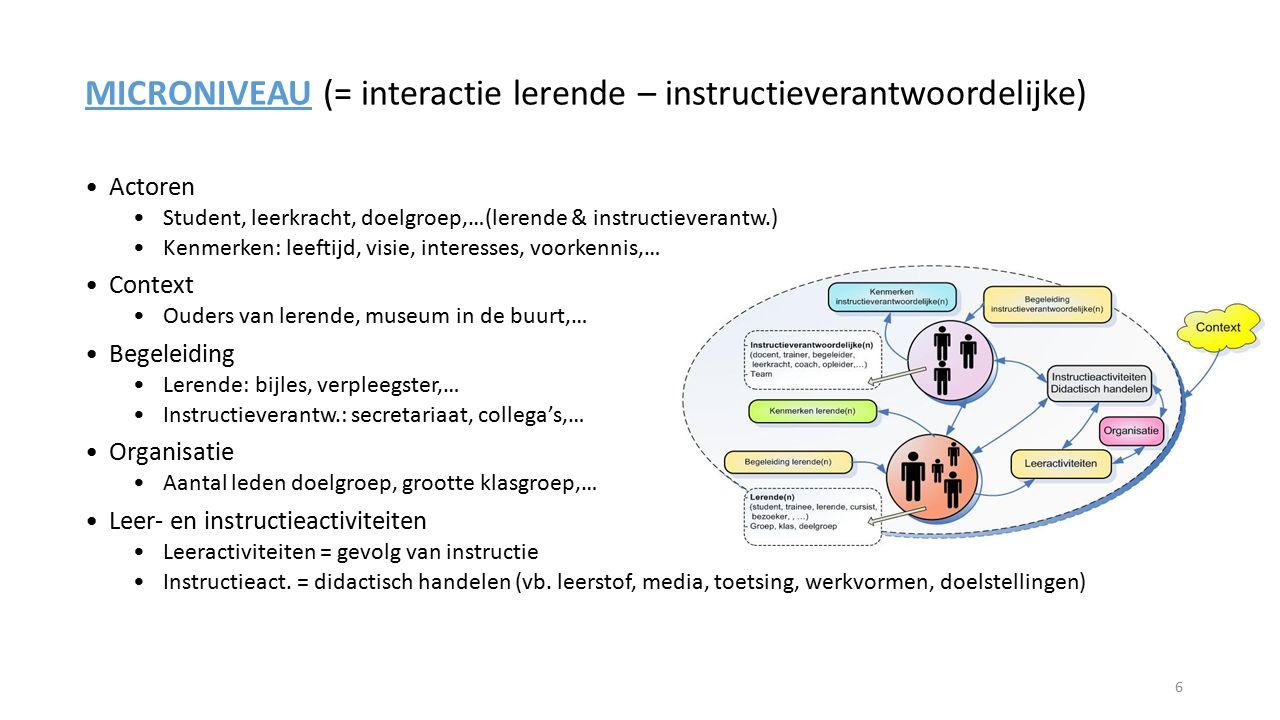 MICRONIVEAU (= interactie lerende – instructieverantwoordelijke)