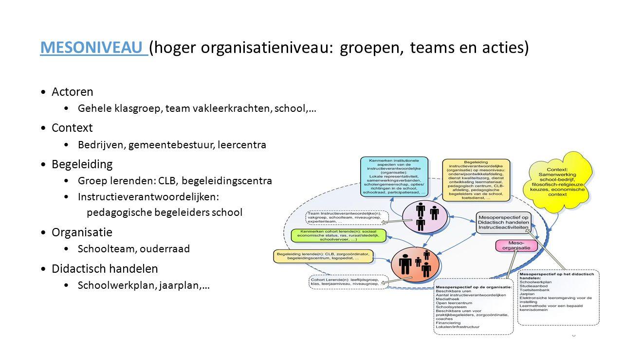 MESONIVEAU (hoger organisatieniveau: groepen, teams en acties)