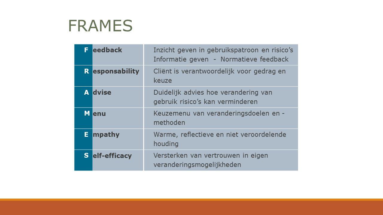 FRAMES F eedback Inzicht geven in gebruikspatroon en risico's