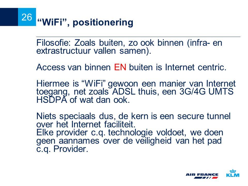 WiFi , positionering Filosofie: Zoals buiten, zo ook binnen (infra- en extrastructuur vallen samen).