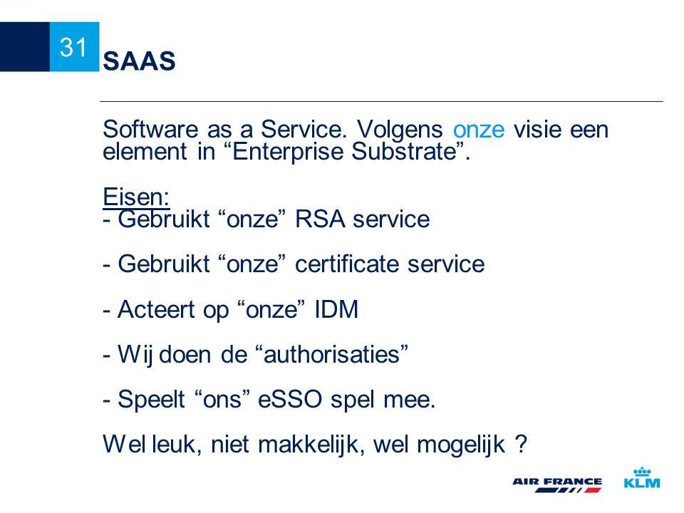 SAAS Software as a Service. Volgens onze visie een element in Enterprise Substrate . Eisen: - Gebruikt onze RSA service.