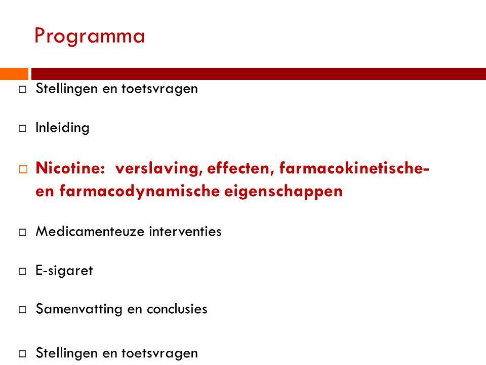 Programma Stellingen en toetsvragen. Inleiding. Nicotine: verslaving, effecten, farmacokinetische- en farmacodynamische eigenschappen.