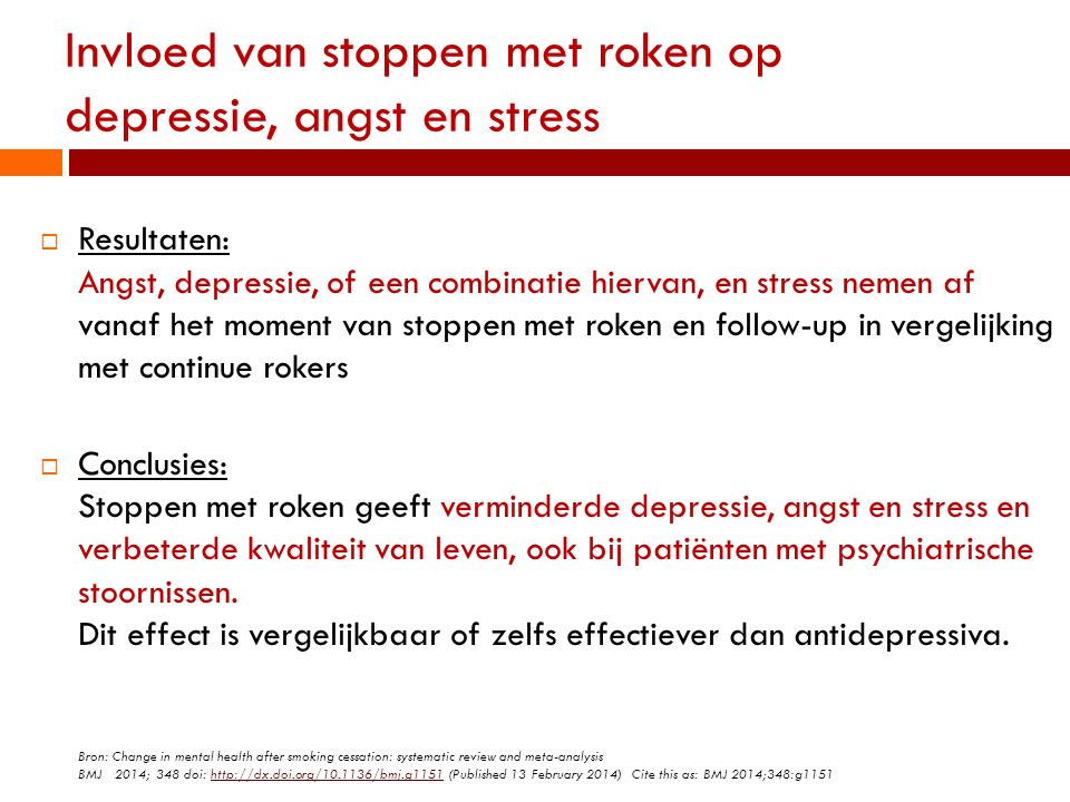 Invloed van stoppen met roken op depressie, angst en stress