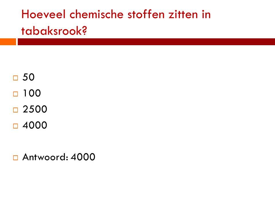 Hoeveel chemische stoffen zitten in tabaksrook