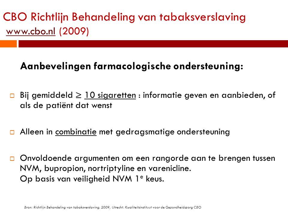CBO Richtlijn Behandeling van tabaksverslaving www.cbo.nl (2009)