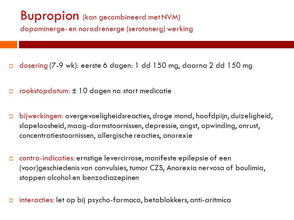 Tabaksverslaving Bupropion (kan gecombineerd met NVM) dopaminerge- en noradrenerge (serotonerg) werking.