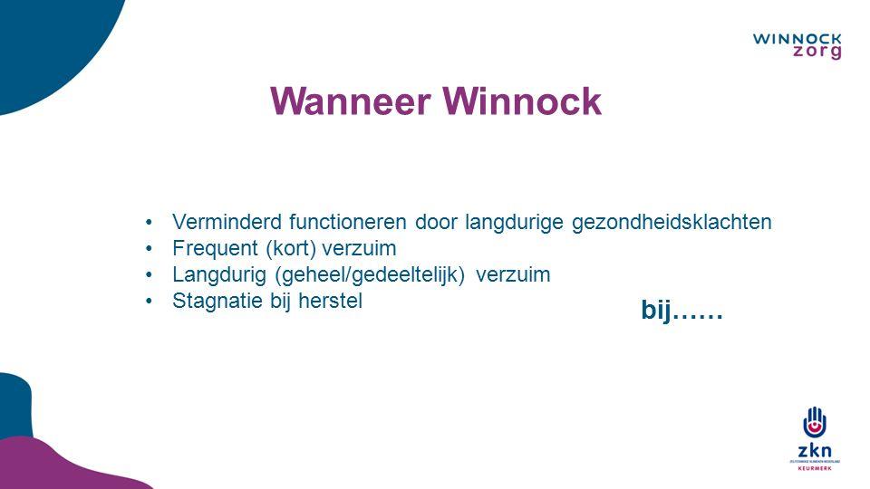 Wanneer Winnock Verminderd functioneren door langdurige gezondheidsklachten. Frequent (kort) verzuim.