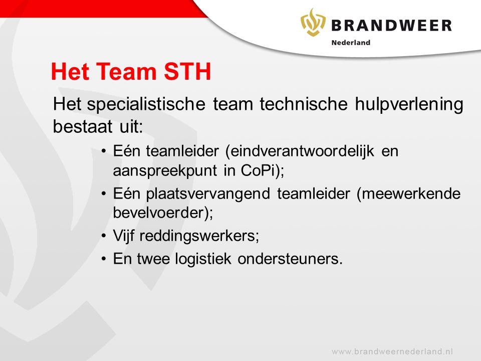 Het Team STH Het specialistische team technische hulpverlening bestaat uit: Eén teamleider (eindverantwoordelijk en aanspreekpunt in CoPi);