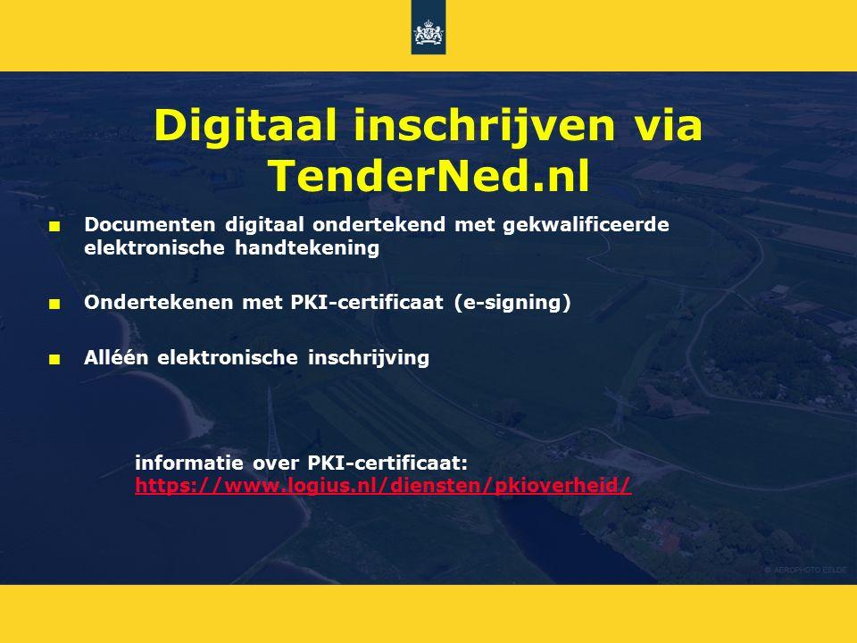 Digitaal inschrijven via TenderNed.nl