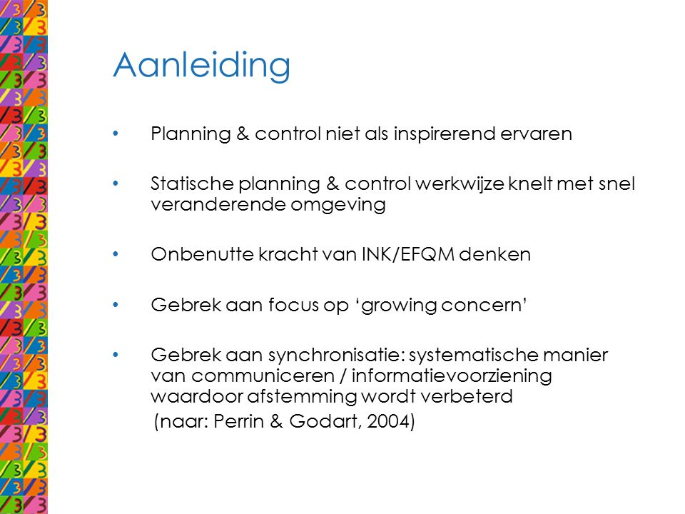 Aanleiding Planning & control niet als inspirerend ervaren