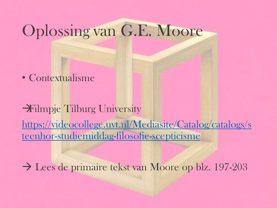 Oplossing van G.E. Moore Contextualisme Filmpje Tilburg University