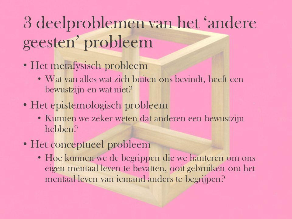 3 deelproblemen van het 'andere geesten' probleem