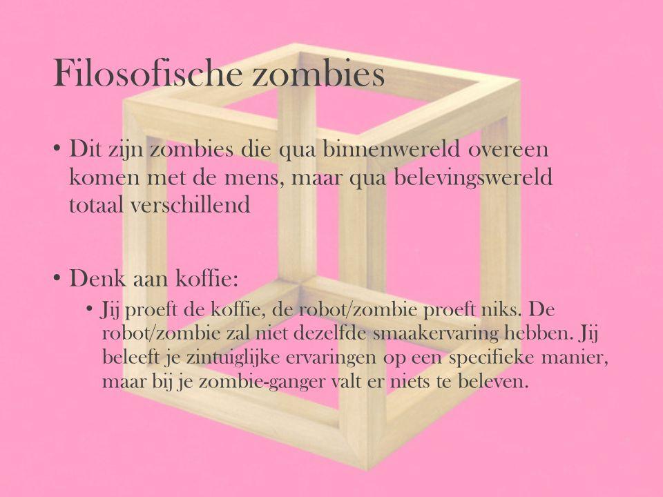 Filosofische zombies Dit zijn zombies die qua binnenwereld overeen komen met de mens, maar qua belevingswereld totaal verschillend.