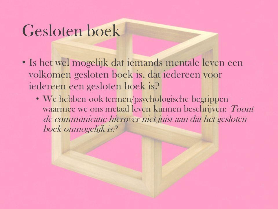 Gesloten boek Is het wel mogelijk dat iemands mentale leven een volkomen gesloten boek is, dat iedereen voor iedereen een gesloten boek is