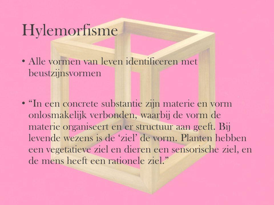 Hylemorfisme Alle vormen van leven identificeren met beustzijnsvormen