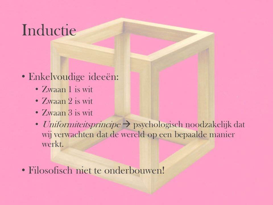 Inductie Enkelvoudige ideeën: Filosofisch niet te onderbouwen!