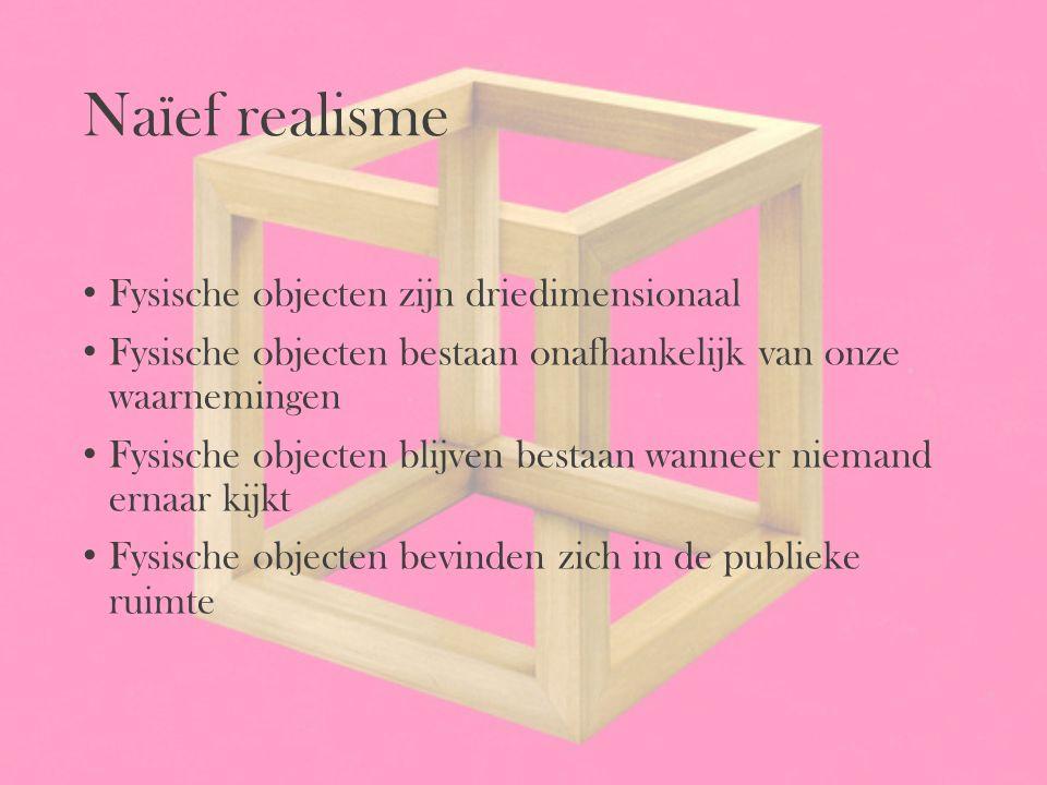 Naïef realisme Fysische objecten zijn driedimensionaal