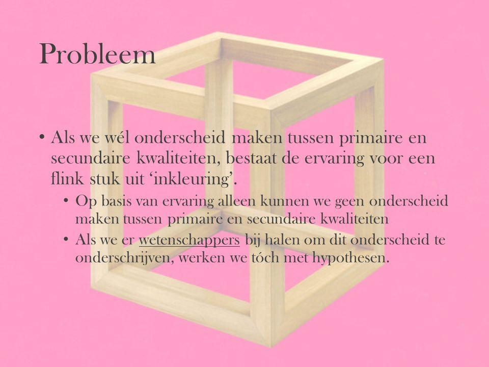 Probleem Als we wél onderscheid maken tussen primaire en secundaire kwaliteiten, bestaat de ervaring voor een flink stuk uit 'inkleuring'.