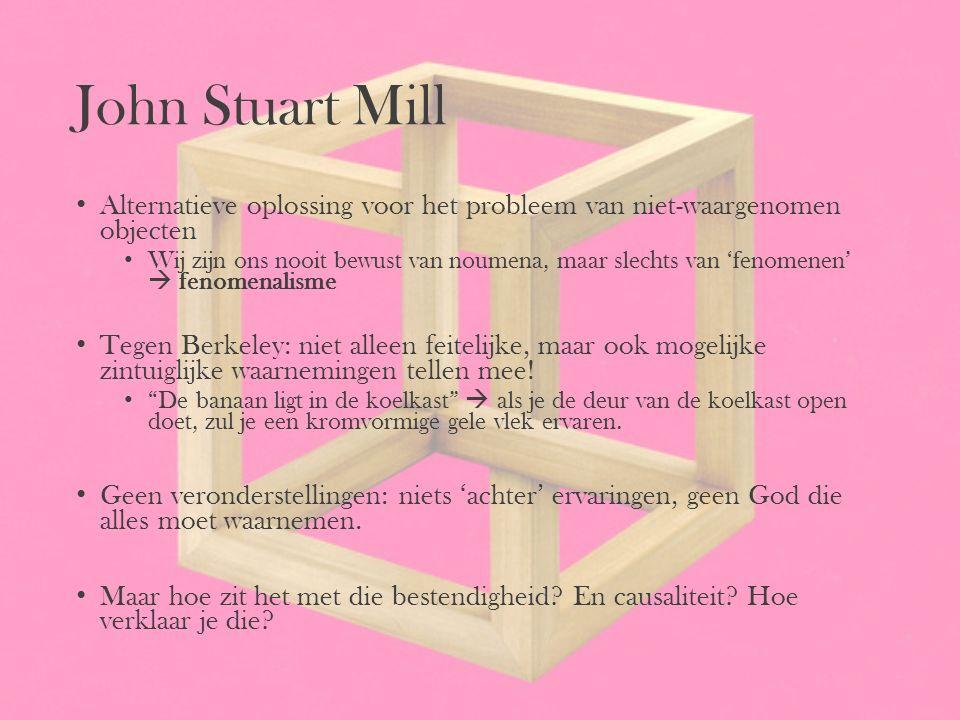 John Stuart Mill Alternatieve oplossing voor het probleem van niet-waargenomen objecten.