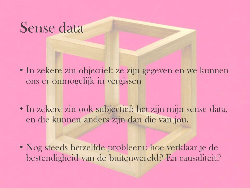 Sense data In zekere zin objectief: ze zijn gegeven en we kunnen ons er onmogelijk in vergissen.