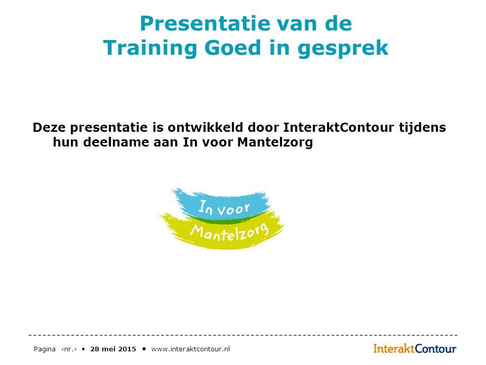 Presentatie van de Training Goed in gesprek