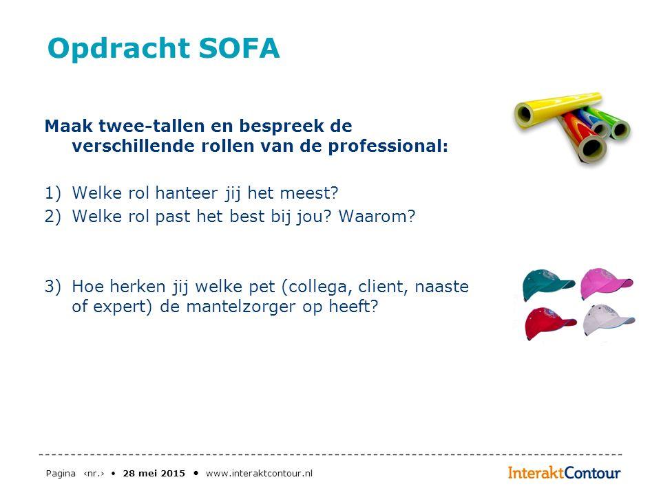 Opdracht SOFA Maak twee-tallen en bespreek de verschillende rollen van de professional: Welke rol hanteer jij het meest