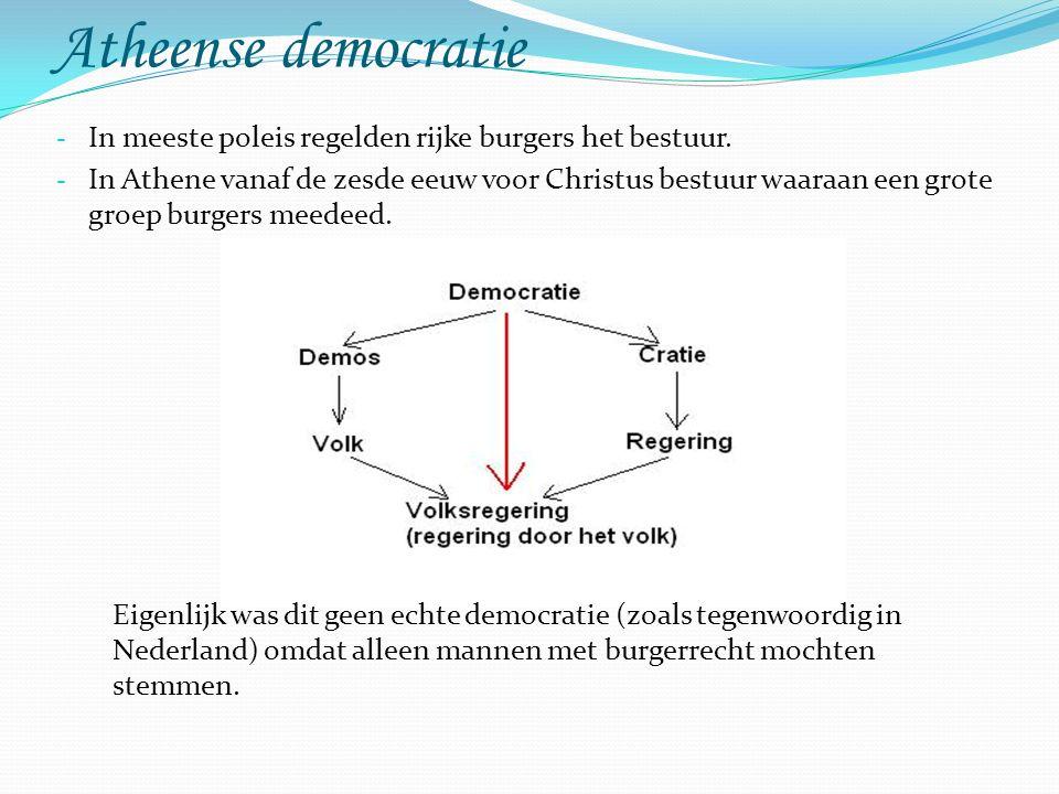 Atheense democratie In meeste poleis regelden rijke burgers het bestuur.