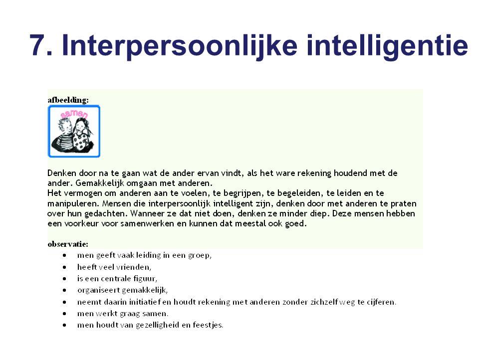 7. Interpersoonlijke intelligentie