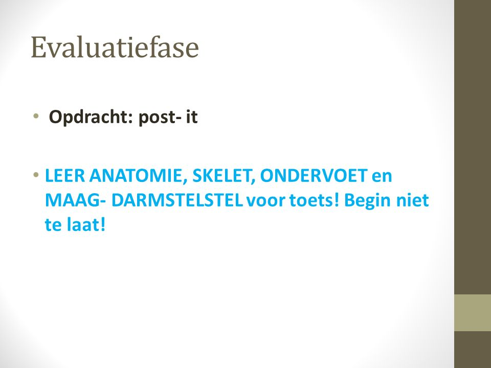 Evaluatiefase Opdracht: post- it