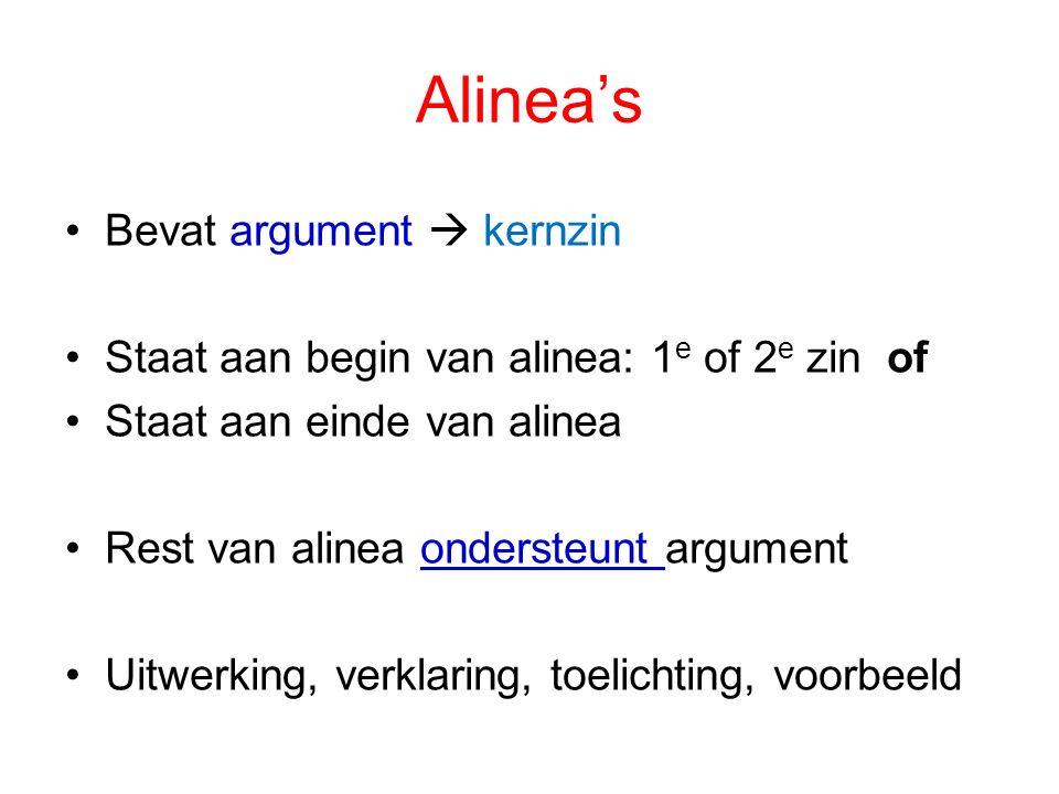 Alinea's Bevat argument  kernzin