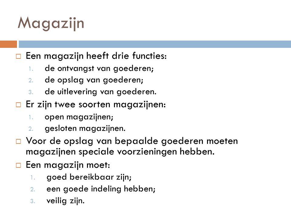 Magazijn Een magazijn heeft drie functies: