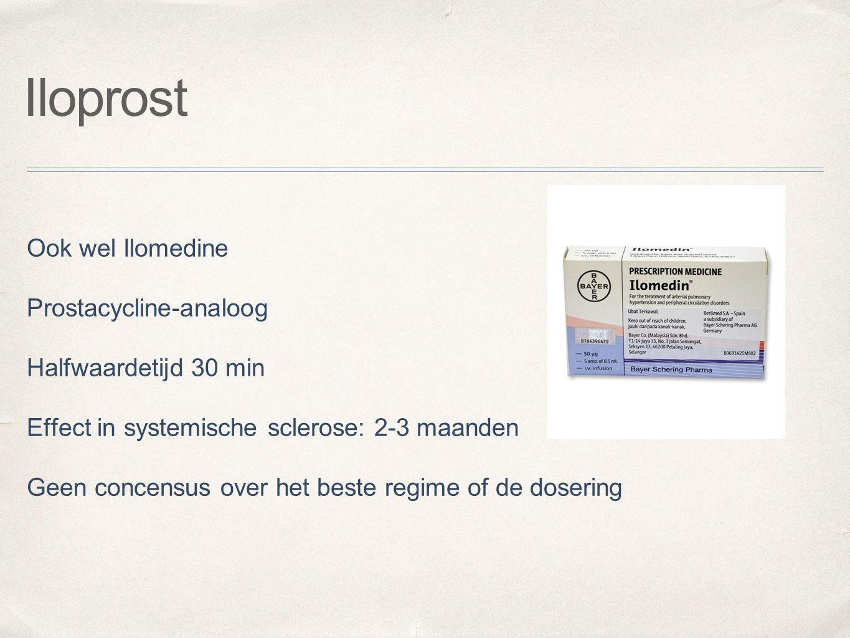 Iloprost Ook wel Ilomedine Prostacycline-analoog Halfwaardetijd 30 min