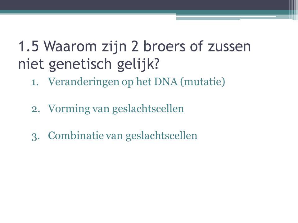 1.5 Waarom zijn 2 broers of zussen niet genetisch gelijk