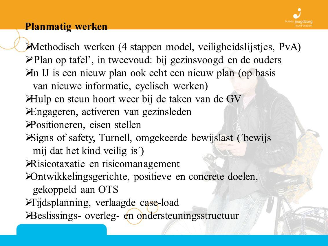 Planmatig werken Methodisch werken (4 stappen model, veiligheidslijstjes, PvA) 'Plan op tafel', in tweevoud: bij gezinsvoogd en de ouders.