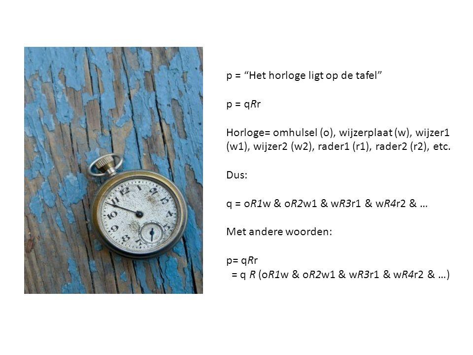 p = Het horloge ligt op de tafel