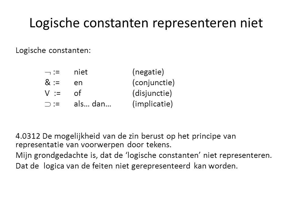 Logische constanten representeren niet