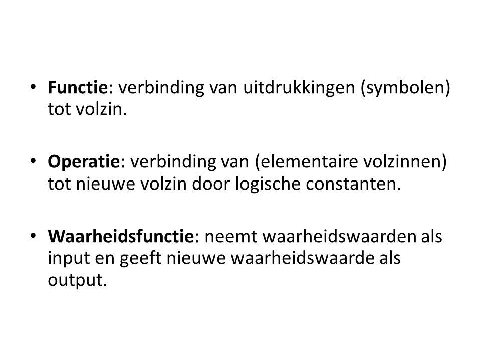 Functie: verbinding van uitdrukkingen (symbolen) tot volzin.